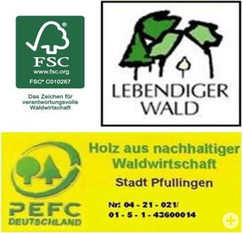 Logos und Zertifikatszeichen, welche die Stadt Pfullingen als Naturwaldgemeinde auszeichnen