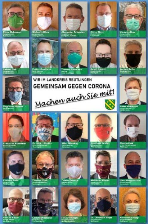 """Alle Bürgermeister des Landkreises Reutlingen sind auf dem Plakat """"Gemeinsam gegen Corona"""" mit Maske zu sehen"""