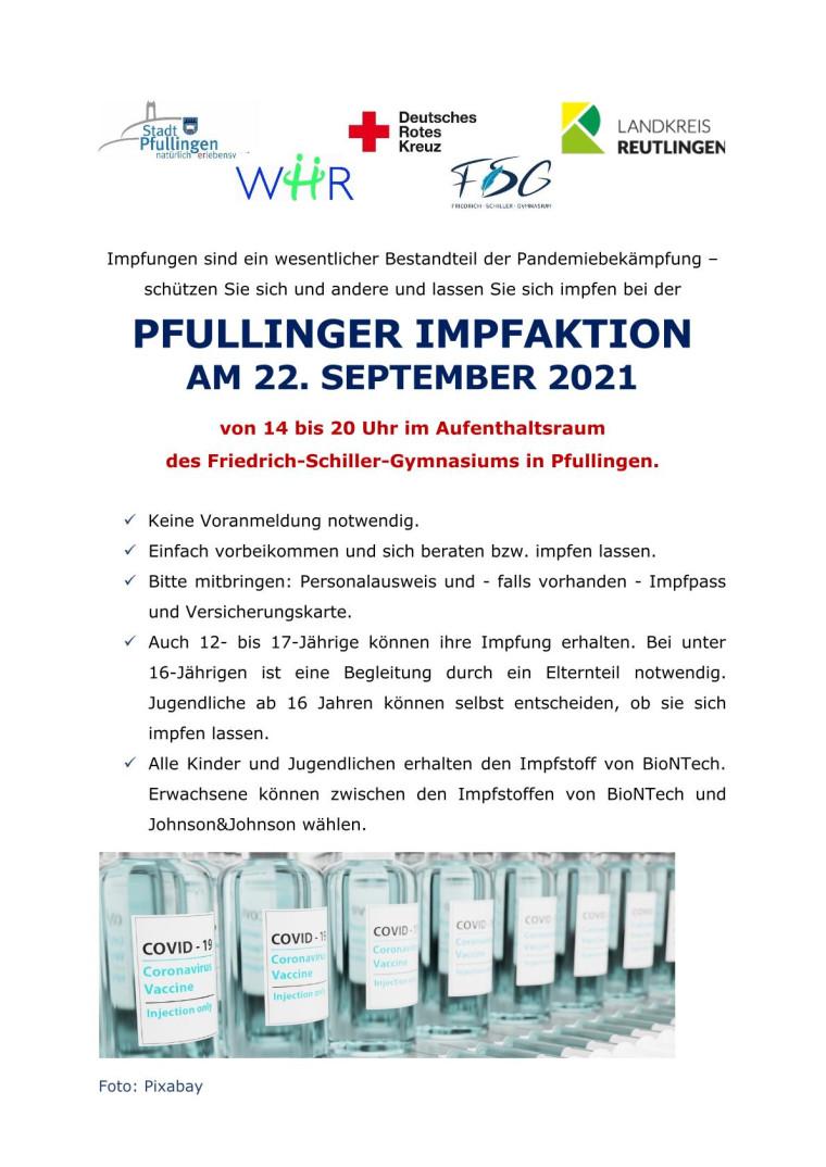 Plakat Pfullinger Impfaktion am 22.9.2021