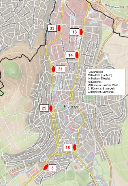 Planübersicht der Bushaltestellen, die im Jahr 2021 barrierefrei umgebaut werden