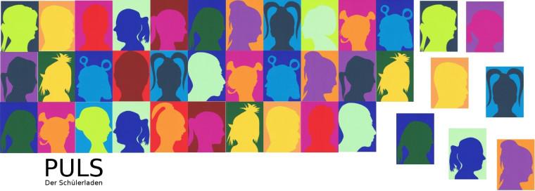 Logo des Schülerladens PULS mit vielen farbigen Vierecken, in denen teilweise Köpfe aufgemalt sind