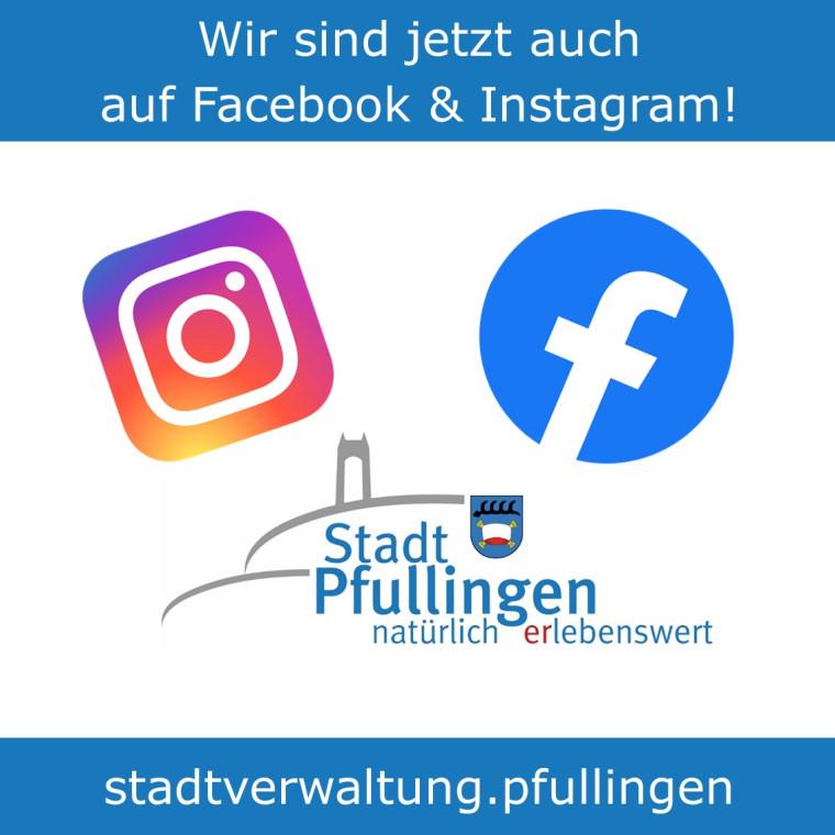 Grafik mit Text, dass wir jetzt auch auf Facebook und Instagram sind. Zu sehen ist das Logo der Stadt Pfullingen mit dem Schönbergturm und die jeweiligen Icons der Plattformen Facebook und Instagram
