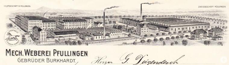 Die Fabrikanlagen der Firma Gebrüder Burkhardt in Pfullingen und Mössingen auf einem Briefkopf der Firma, 1916 (StAPf, S 10 40)