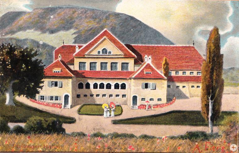 Die Pfullinger Hallen als Postkartenmotiv nach einem Bild von Albert Fierz, 1910 (StAPf, Postkartensammlung)