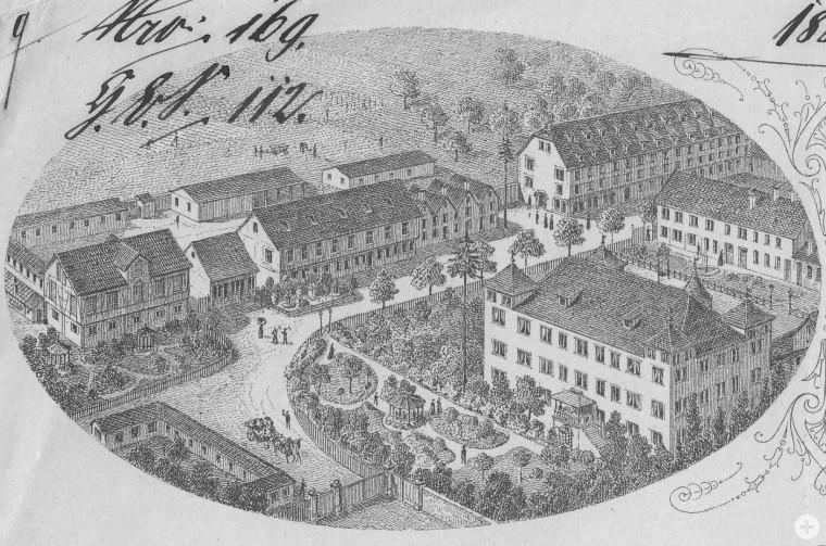 Areal der Heilanstalt Flamm mit dem Schlossgebäude im Briefkopf einer Rechnung der Anstalt, 1884 (StAPf, N/Flamm 6)