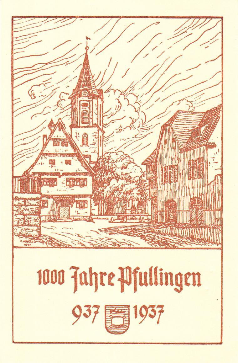 Offizielle Festpostkarte (StAPf, Unterlagen Tausendjahrfeier)