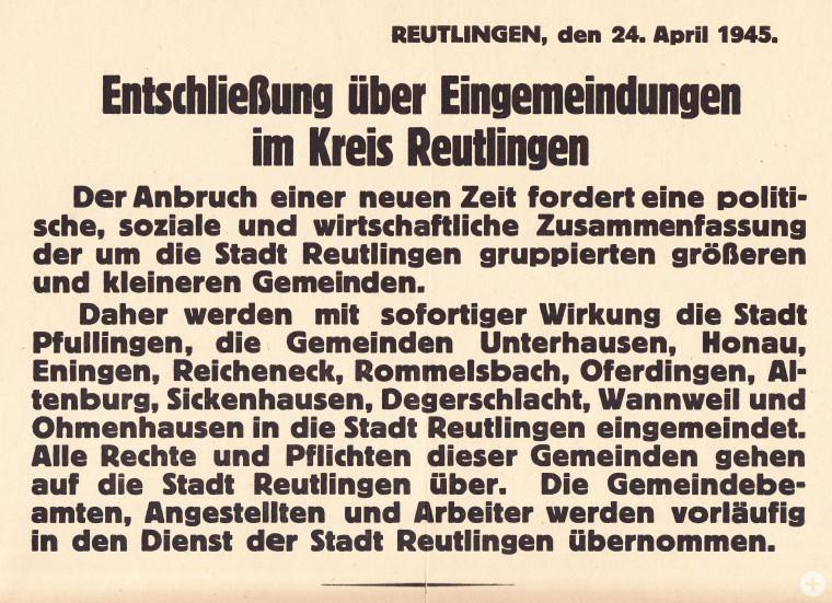 Bekanntmachung der Eingemeindungen nach Reutlingen (StAPf, A 6)