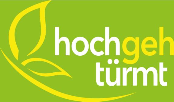 Grünes Logo hochgehtürmt