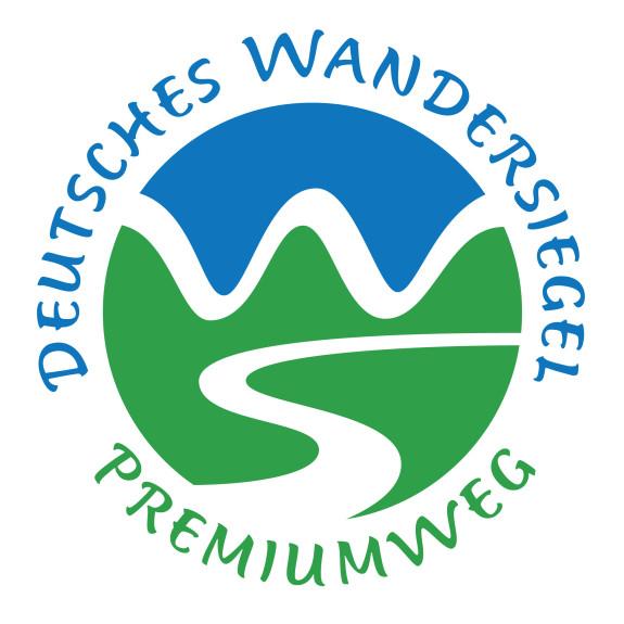 Blau-Grünes Logo für das Deutsche Wandersiegel Premiumwanderweg
